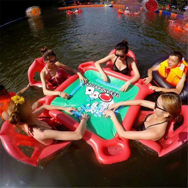 Water Games Beach Party Inflatable Table Pool Toy Large Mahjong Floating Table for Hold with Drink Poker Chips Holder Pool Float