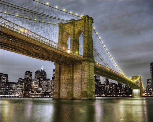 New York (Brooklyn Bridge) - Mini Poster - 40cm x 50cm