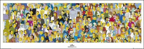 Simpsons Cast Television Poster Float Frame Mounted