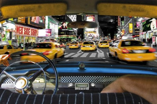 Photography Maxi Poster featuring A View from a Taxi in Times Square New York 91.5x61cm