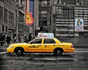 New York (7th Avenue Taxi) - Mini Poster - 40cm x 50cm