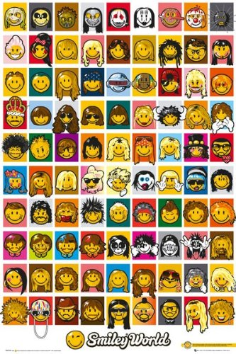Humorous Poster featuring a collage of smiley faces as all your favourite musicians 61x91.5cm