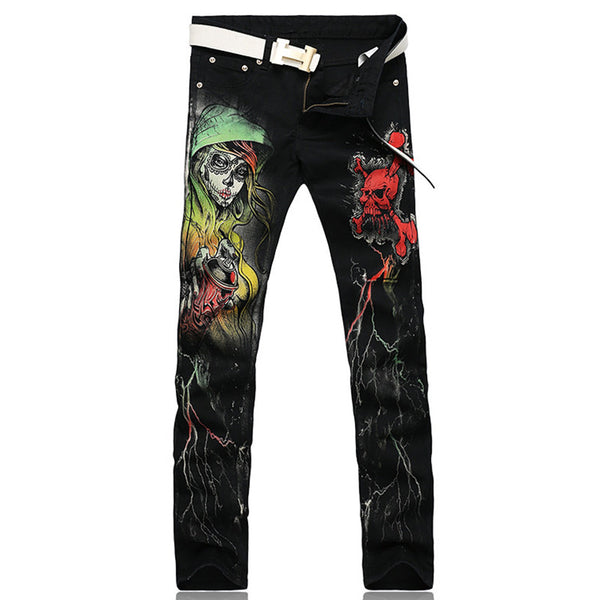 Men's slim fit skull printed denim jeans - Morticia's Desire
