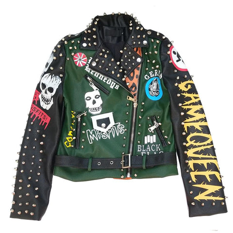 Green with Skull Leather Jacket - Morticia's Desire