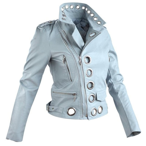 Faux Leather Bomber Coat - Sky Blue - Morticia's Desire