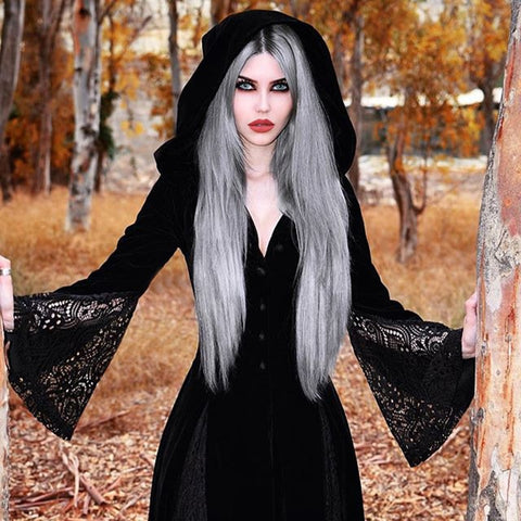 Gothic Hooded Maxi Dress with Flared Sleeve and Lace Patchwork - Morticia's Desire