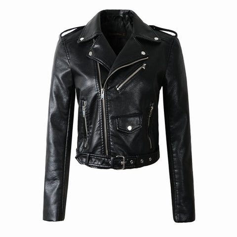 Synthetic Leather Bomber Jacket - Black - Morticia's Desire