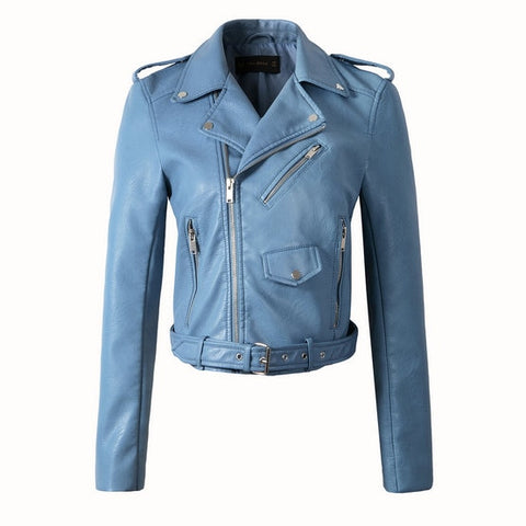 Synthetic Leather Bomber Jacket - Sky Blue - Morticia's Desire