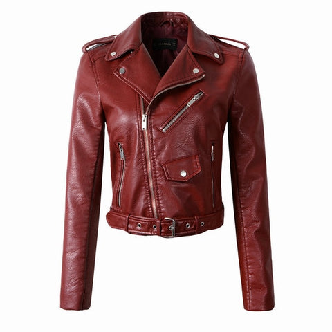 Synthetic Leather Bomber Jacket - Ketchup - Morticia's Desire