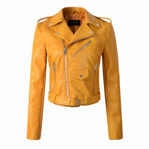 Synthetic Leather Bomber Jacket - Mustard - Morticia's Desire