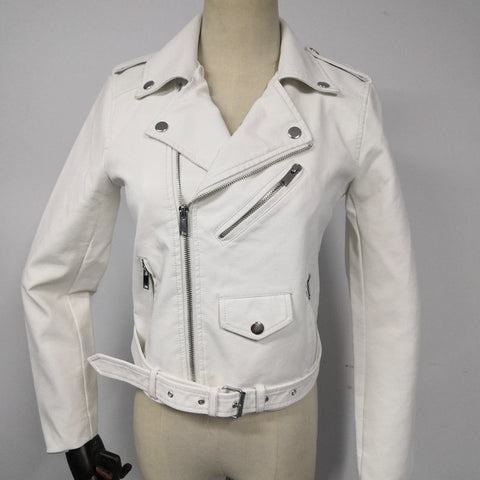 Synthetic Leather Bomber Jacket - White - Morticia's Desire