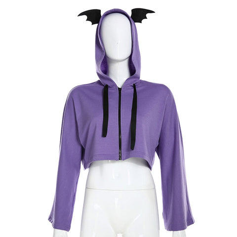 Gothic Bat Ears Purple Hoody - Morticia's Desire