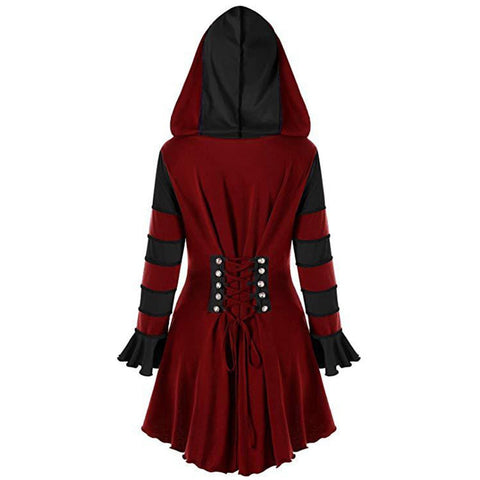 Burgundy Red Stripped Long Sleeve Dress Hoodie - Morticia's Desire