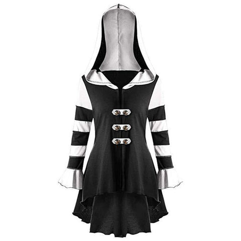 Black and White Stripped Long Sleeve Dress Hoodie - Morticia's Desire