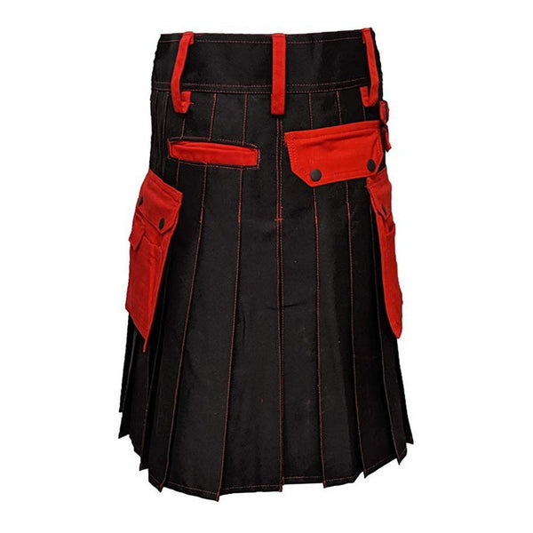 Scottish Men's Kilt with Belt in Solid Black and Red - Morticia's Desire