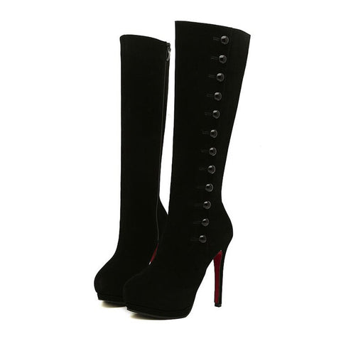 Black Mid-calf High Heels Button Boot - Lolita - Morticia's Desire