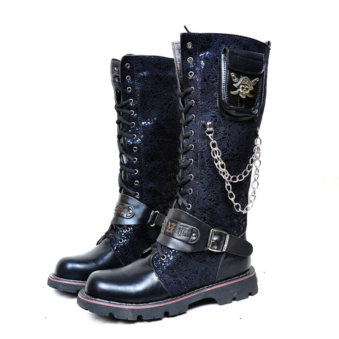 Skull and Chains Gothic Boots - Punk Goth Gothic - Morticia's Desire