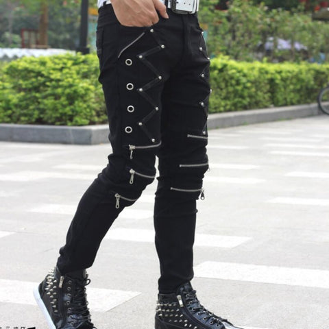 Slim Fit Black Zipper Pants - Punk Goth Gothic - Morticia's Desire