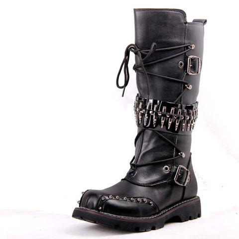 Waterproof Knee High Leather Boots - Punk Goth Gothic - Morticia's Desire