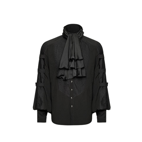 Gentlemen's Black Ruffles Dress Shirt - Goth Gothic - Morticia's Desire