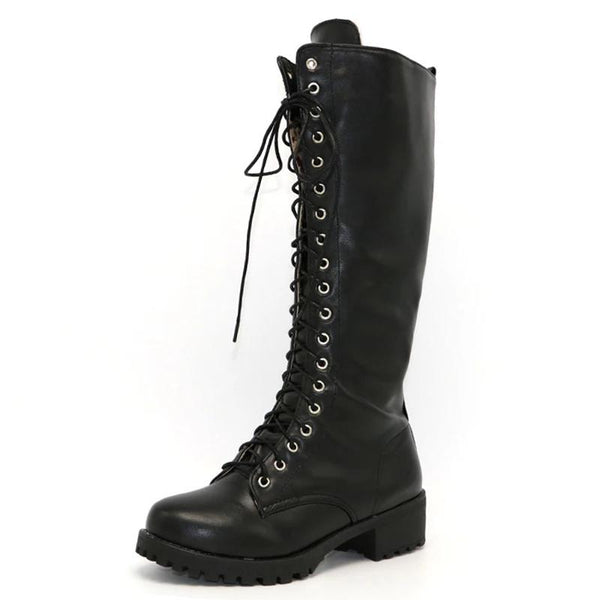 Lace up Square Heel Knee High Boot - Punk Goth Gothic - Morticia's Desire
