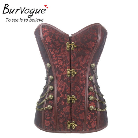 Burvogue Steampunk Corset in  Steel Bone - Burgundy Brown - Morticia's Desire