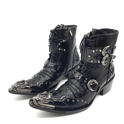 Genuine Leather with Iron Pointed Toe Boots - Punk Goth Gothic - Morticia's Desire