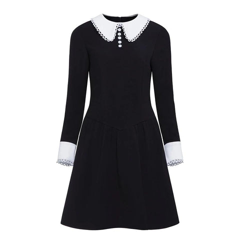 Rosetic Vintage Peter Pan Collar Gothic Dress - Morticia's Desire