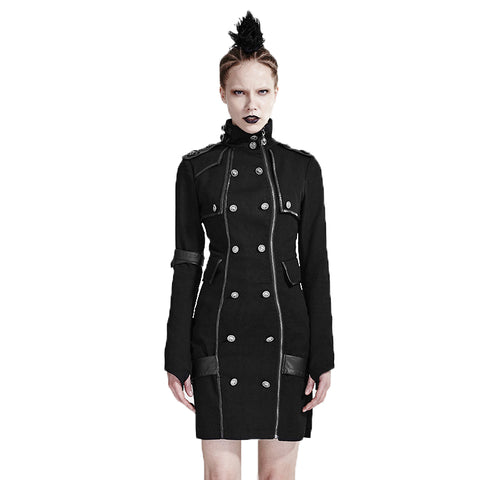 Uniform High Collar with Long Sleeve Short Dress - Goth Punk Militant - Morticia's Desire