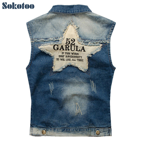Denim vest Five-pointed star in Blue - Morticia's Desire
