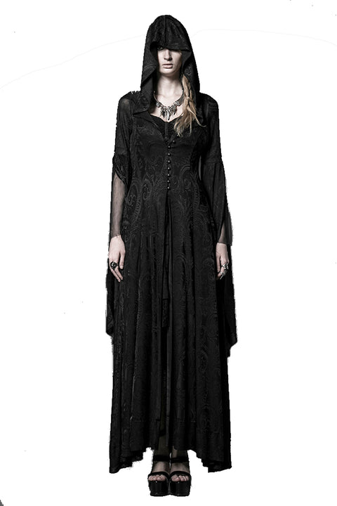 Knitting Jacquard Vintage Long Hooded Dress - Morticia's Desire