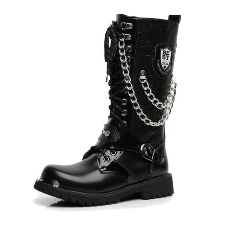 Shield and Chain Military Combat Boots - Punk Goth Gothic - Morticia's Desire