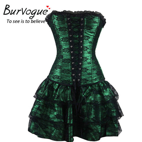 Burvogue Corset and Bustier Dress in Green - Goth Gothic - Morticia's Desire