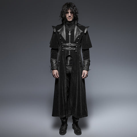 Leather Belted Long Cloak - Goth Gothic - Morticia's Desire