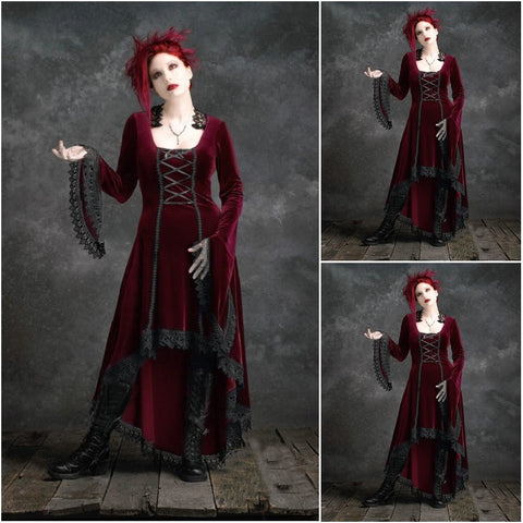 Victorian Burgundy Long Sleeve Dress - Goth Gothic - Morticia's Desire