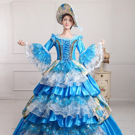 Victorian Marie Antoinette Theater Ball Gown Sky Blue - Morticia's Desire