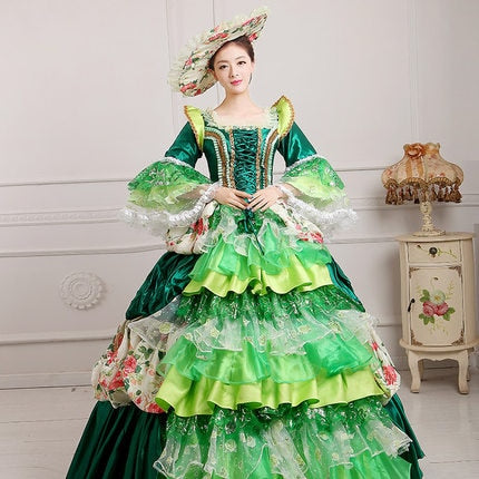 Victorian Marie Antoinette Theater Ball Gown in Shades of Green - Morticia's Desire