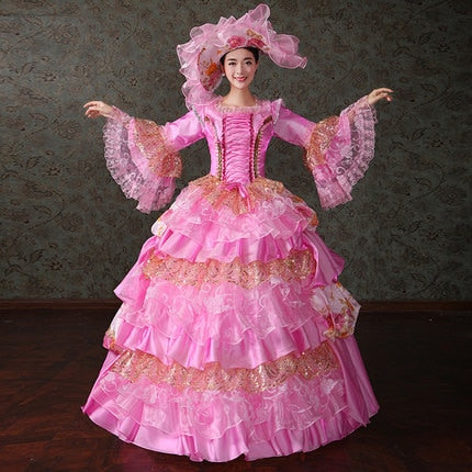 Victorian Marie Antoinette Theater Ball Gown in Pink - Morticia's Desire