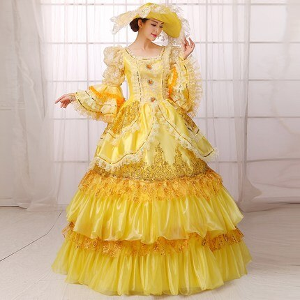 Victorian Yellow Queen Ball Gown Dress Vintage Women Retro Cosplay Costume - Morticia's Desire