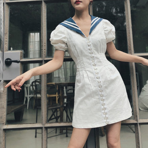 Summer Dress Navy Sailor Style - Morticia's Desire