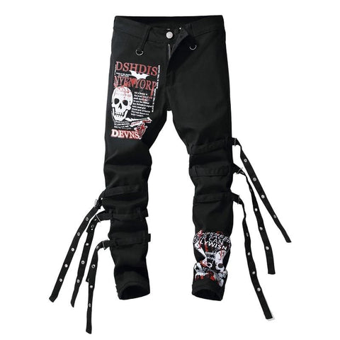 Black Skull and Letters Denim Jeans - Morticia's Desire