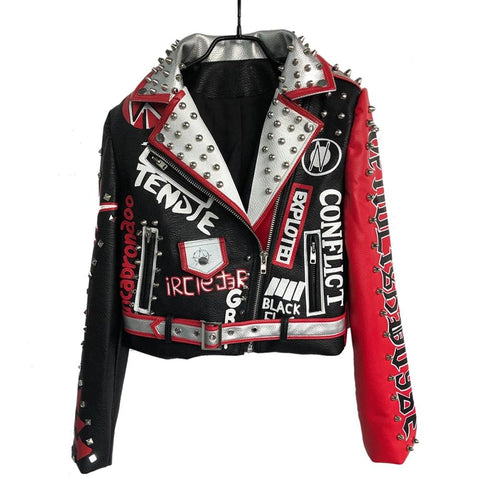 Punk Red Silver Black Studded Jacket - Morticia's Desire