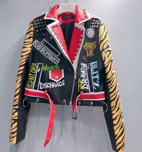 Riveted Graffiti Tiger Striped Jacket with Embroidery - Morticia's Desire