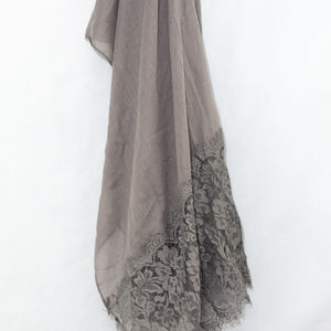 Ash Grey Premium Lace Cotton Viscose Hijab
