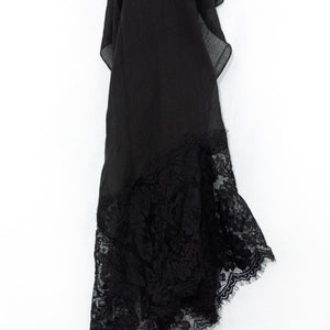 Black Premium Lace Cotton Viscose Hijab