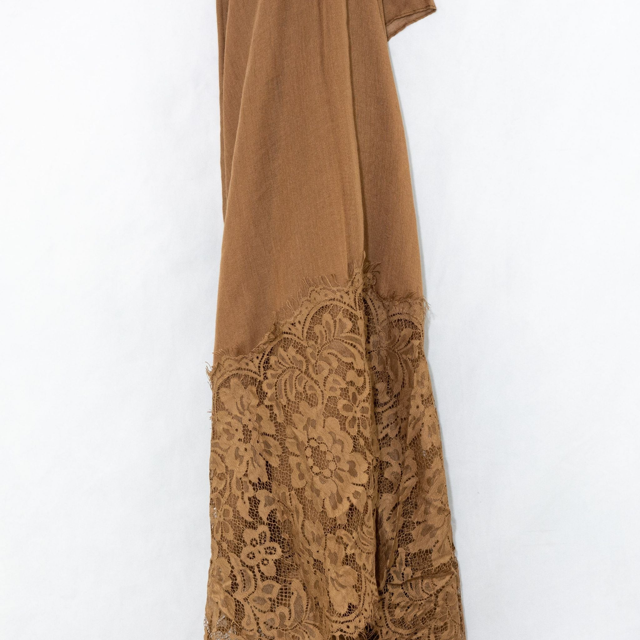 Cinnamon Brown Premium Lace Cotton Viscose Hjiab