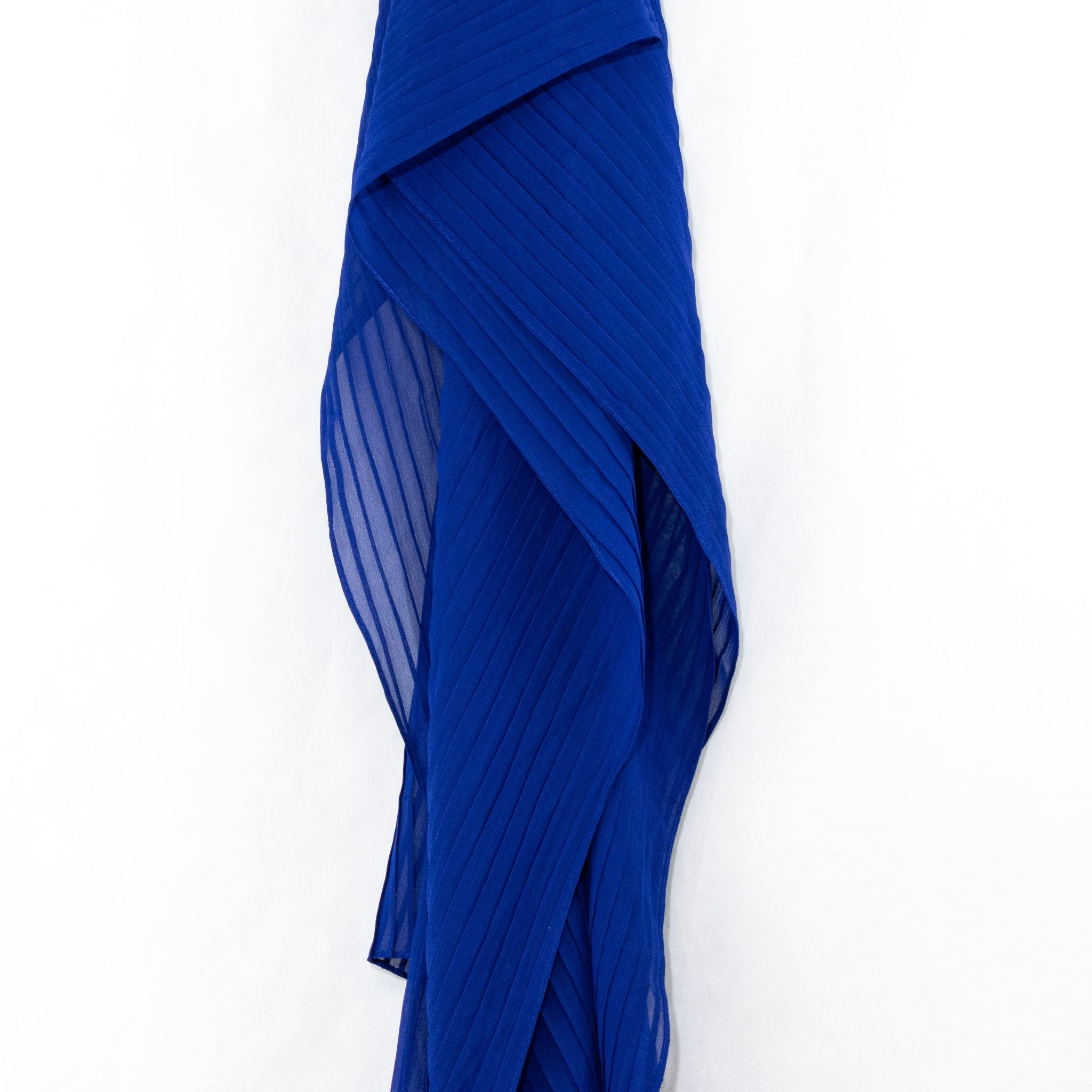 Cobalt Blue Pleated Chiffon Hijab