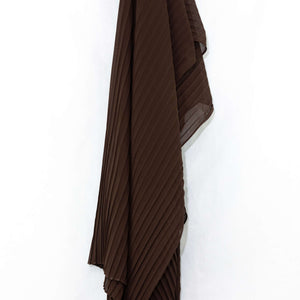 Coffee Brown Pleated Chiffon Hijab