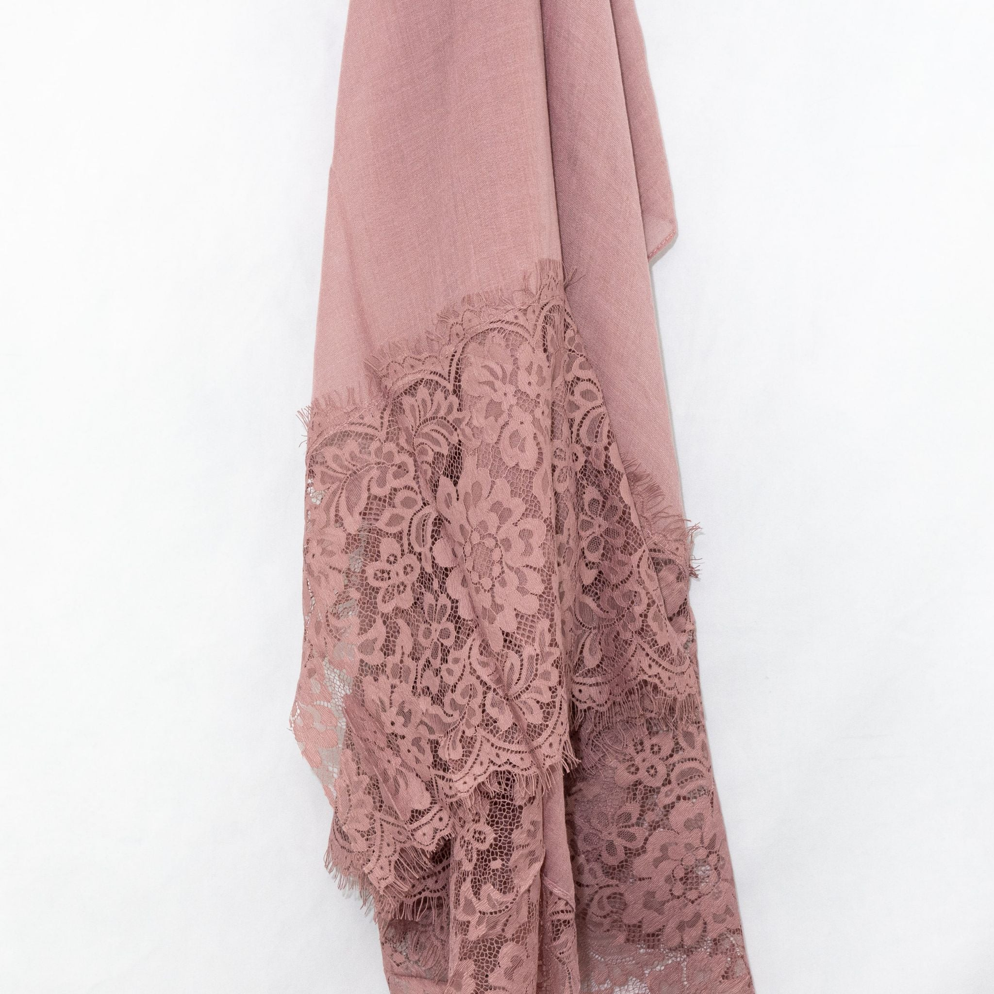 Dusty Rose Pink Premium Lace Cotton Viscose Hijab
