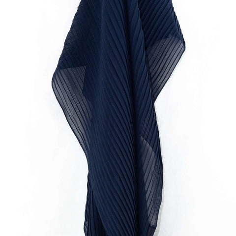 Midnight Blue Pleated Chiffon Hijab